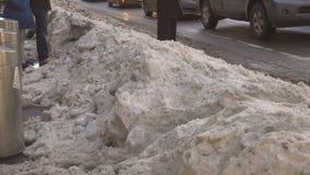 ΠΟΛΗ της ΝΕΑΣ ΥΌΡΚΗΣ - 16 Μαρτίου 2017 ισχυρή χιονόπτωση στη λεωφόρο, Νέα Υόρκη, Μανχάταν, φιλμ μικρού μήκους
