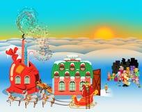 Πολική σκηνή ημέρας διακοπών Χριστουγέννων απεικόνιση αποθεμάτων