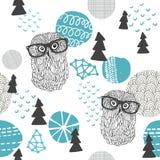 Πολικό άνευ ραφής σχέδιο κουκουβαγιών Στοκ Εικόνες