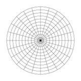 Πολικό πλέγμα 10 ομόκεντρων κύκλων και των βημάτων 15 βαθμών Κενό διανυσματικό πολικό έγγραφο γραφικών παραστάσεων διανυσματική απεικόνιση