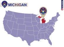 Πολιτεία του Michigan στον ΑΜΕΡΙΚΑΝΙΚΟ χάρτη Σημαία και χάρτης του Μίτσιγκαν διανυσματική απεικόνιση