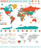 Πολιτικές χρωματισμένες διανυσματικές πληροφορίες παγκόσμιων χαρτών γραφικές Στοκ Φωτογραφίες