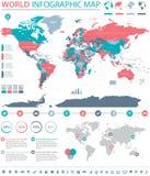 Πολιτικές χρωματισμένες διανυσματικές πληροφορίες παγκόσμιων χαρτών γραφικές Στοκ Εικόνες