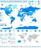 Πολιτικές χρωματισμένες διανυσματικές πληροφορίες παγκόσμιων χαρτών γραφικές Στοκ φωτογραφία με δικαίωμα ελεύθερης χρήσης