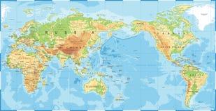 Πολιτικός φυσικός τοπογραφικός χρωματισμένος παγκόσμιος χάρτης Ειρηνικός που κεντροθετείται διανυσματική απεικόνιση