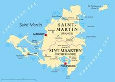 Πολιτικός χάρτης νησιών Αγίου Martin απεικόνιση αποθεμάτων
