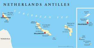 Πολιτικός χάρτης Ολλανδικών Αντιλλών διανυσματική απεικόνιση
