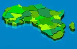 Πολιτικός χάρτης της Αφρικής τρισδιάστατος απεικόνιση αποθεμάτων