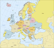 Πολιτικός χάρτης της Ευρώπης Στοκ εικόνα με δικαίωμα ελεύθερης χρήσης