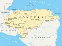 Πολιτικός χάρτης της Ονδούρας διανυσματική απεικόνιση