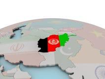Πολιτικός χάρτης του Αφγανιστάν στη σφαίρα με τη σημαία Στοκ Φωτογραφίες