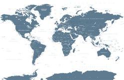 Πολιτικό διάνυσμα παγκόσμιων χαρτών Grayscale Στοκ Εικόνες