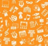 Πολιτισμός και τέχνη, άνευ ραφής σχέδιο, σκίαση, μολύβι, πορτοκάλι, διάνυσμα Στοκ εικόνα με δικαίωμα ελεύθερης χρήσης