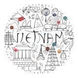 Πολιτισμός του Βιετνάμ γύρω από την έννοια σχεδίου με τους παφλασμούς watercolor ελεύθερη απεικόνιση δικαιώματος