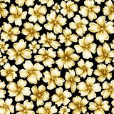 Πολλά διαφορετικά χρυσά χρωματισμένα λουλούδια μεγέθους όπως την πόρπη κοσμήματος στο μαύρο υπόβαθρο απεικόνιση αποθεμάτων