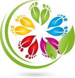 Πολλά πόδια στο χρώμα, την προσοχή ποδιών και το λογότυπο μασάζ ελεύθερη απεικόνιση δικαιώματος