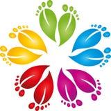 Πολλά πόδια στο χρώμα, την προσοχή ποδιών και το λογότυπο μασάζ διανυσματική απεικόνιση