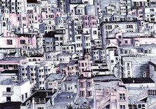Πολλά σπίτια πόλεων Στοκ Φωτογραφία