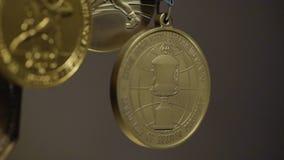 Πολλά χρυσά μετάλλια με την κινηματογράφηση σε πρώτο πλάνο κορδελλών tricolor Μετάλλιο για την πρώτη θέση στον ανταγωνισμό στο τζ Στοκ φωτογραφίες με δικαίωμα ελεύθερης χρήσης