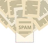 Πολλές επιστολές που πετούν από έναν φάκελο με τη λέξη spam Διανυσματική απεικόνιση