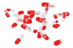 Πολλές κάψες χαπιών υγειονομικής περίθαλψης τρισδιάστατη απόδοση απεικόνιση αποθεμάτων