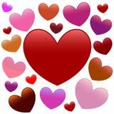 Πολλές καρδιές colourfull, διανυσματική απεικόνιση στοκ εικόνες με δικαίωμα ελεύθερης χρήσης