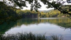 Πολλές σκιές πράσινος και μπλε γύρω από τη λίμνη και το δάσος σε Plitvice Κροατία Στοκ Εικόνες