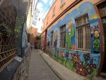 Πολλή τέχνη στις οδούς Valparaiso στοκ φωτογραφία