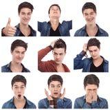 Πολλαπλάσιες εκφράσεις νεαρών άνδρων στοκ φωτογραφία με δικαίωμα ελεύθερης χρήσης