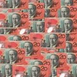 Πολλαπλάσιος Αυστραλός είκοσι δολάριο $20 τραπεζογραμμάτια που διασκορπίζονται κάτω πάνω από κάθε ένα στοκ εικόνες