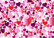 Πολλαπλάσιο ζωηρόχρωμο υπόβαθρο καρδιών στοκ εικόνα