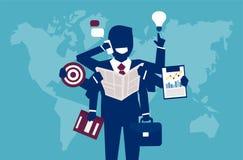 Πολλαπλών καθηκόντων επιτυχής επιχειρηματίας που διαχειρίζεται όλα ελεύθερη απεικόνιση δικαιώματος