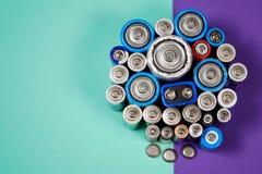 Πολλοί διαφορετικοί τύποι χρησιμοποιούμενοι ή νέα μπαταρία, επανακαταλογηστέος συσσωρευτής, αλκαλικές μπαταρίες στο υπόβαθρο χρώμ στοκ εικόνα
