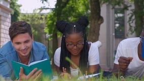 Πολλοί εθνικοί σπουδαστές σε ένα πάρκο πόλεων να βρεθεί στη χλόη με τα σημειωματάρια απόθεμα βίντεο
