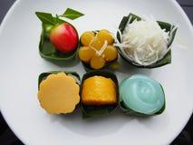 Πολλοί εύγευστο ταϊλανδικό επιδόρπιο γλυκών, ταϊλανδικό γλυκό Στοκ Εικόνα