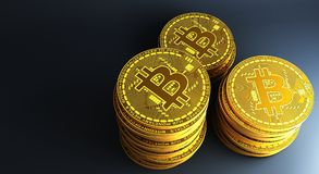 Πολλοί χρυσή bitcoins τοποθέτηση στην αντανακλαστική επιφάνεια, τρισδιάστατη απόδοση Στοκ φωτογραφία με δικαίωμα ελεύθερης χρήσης