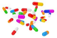 Πολλοί χρωματίζουν τις κάψες χαπιών υγειονομικής περίθαλψης τρισδιάστατη απόδοση ελεύθερη απεικόνιση δικαιώματος