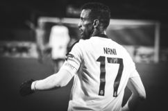 ΠΟΛΤΑΒΑ, ΟΥΚΡΑΝΙΑ - 4 Οκτωβρίου 2018: Φορέας της Nani κατά τη διάρκεια του UEFA στοκ εικόνα