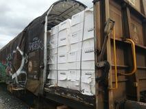 Πολτός χαρτιού που συσκευάζεται στο τραίνο βαγονιών εμπορευμάτων στοκ εικόνες