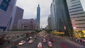 Πολυάσχολη κυκλοφορία στην πόλη της Ταϊπέι της Ταϊβάν απόθεμα βίντεο