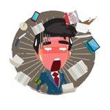 Πολυάσχολος επιχειρηματίας με πολλές εργασίες που κάνουν σχέδιο χαρακτήρα - απεικόνιση διανυσματική απεικόνιση