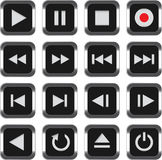 πολυμέσα εικονιδίων ελέγχου που τίθενται Στοκ Εικόνες