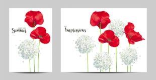 Πολυτελή φωτεινά κόκκινα διανυσματικά λουλούδια παπαρουνών και Hydrangea - painti Στοκ εικόνα με δικαίωμα ελεύθερης χρήσης