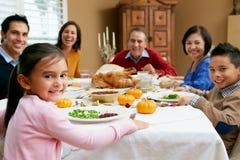 Πολυ ημέρα των ευχαριστιών οικογενειακού εορτασμού παραγωγής Στοκ εικόνα με δικαίωμα ελεύθερης χρήσης