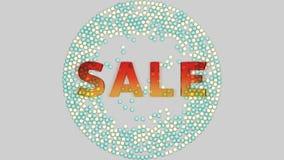 Πολυ χρωματισμένη πτώση σφαιρών στο σημάδι πώλησης απεικόνιση αποθεμάτων
