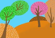 Πολυ χρωματισμένο δάσος με έναν μπλε ουρανό ελεύθερη απεικόνιση δικαιώματος
