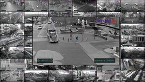 Πολυ όργανα ελέγχου οθόνης, κάμερες CCTV απόθεμα βίντεο