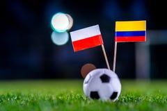 Πολωνία - Κολούμπια, ομάδα Χ, η Κυριακή, 24 Ποδόσφαιρο Ιουνίου, Παγκόσμιο Κύπελλο, Ρωσία 2018, εθνικές σημαίες στην πράσινη χλόη, στοκ εικόνες
