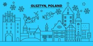 Πολωνία, ορίζοντας χειμερινών διακοπών Olsztyn Χαρούμενα Χριστούγεννα, διακοσμημένο καλή χρονιά έμβλημα με Άγιο Βασίλη Πολωνία διανυσματική απεικόνιση