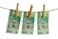 Πολωνικά τραπεζογραμμάτια εκατό στη συμβολοσειρά στοκ φωτογραφίες με δικαίωμα ελεύθερης χρήσης